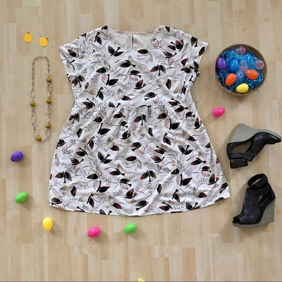 Bird print babydoll loose flowy short sleeve dress